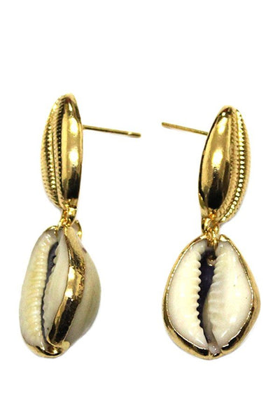 Gold Cowrie Shell Drop Earrings