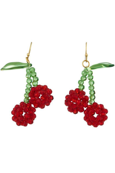 Red Beaded Cherry Earrings