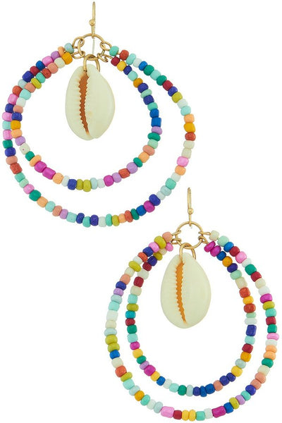 Multi Color Bead Shell Hoop - SISTER LB
