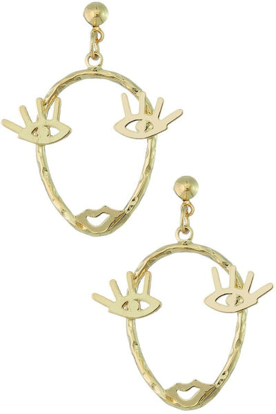 Gold Lash Face Earrings