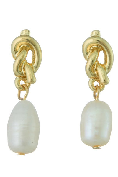 Gold Knot Pearl Earrings - SISTER LB