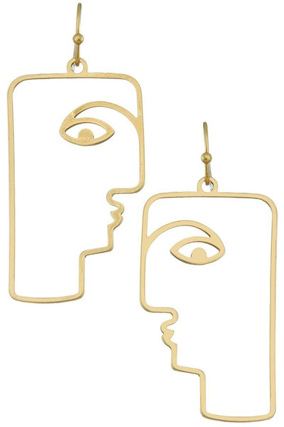 Gold Rectangle Face Earrings