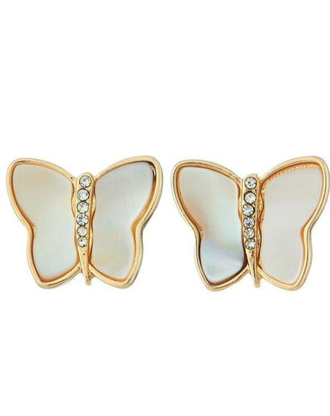 Gold Pearl Butterfly Studs - SISTER LB