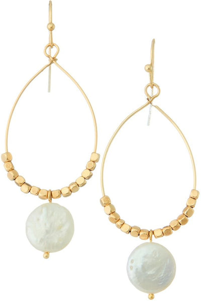 Gold Beaded Pearl Drop Hoop