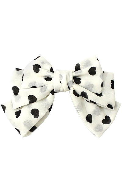 Heart Print Bow Hair Clip - SISTER LB