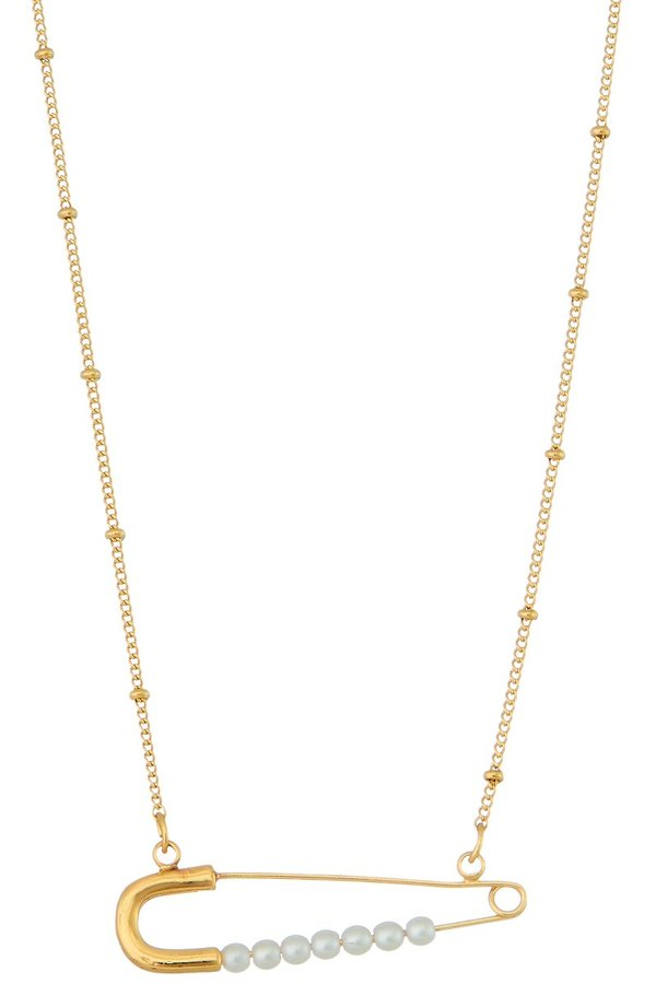 Gold Pearl Safety Pin Necklace