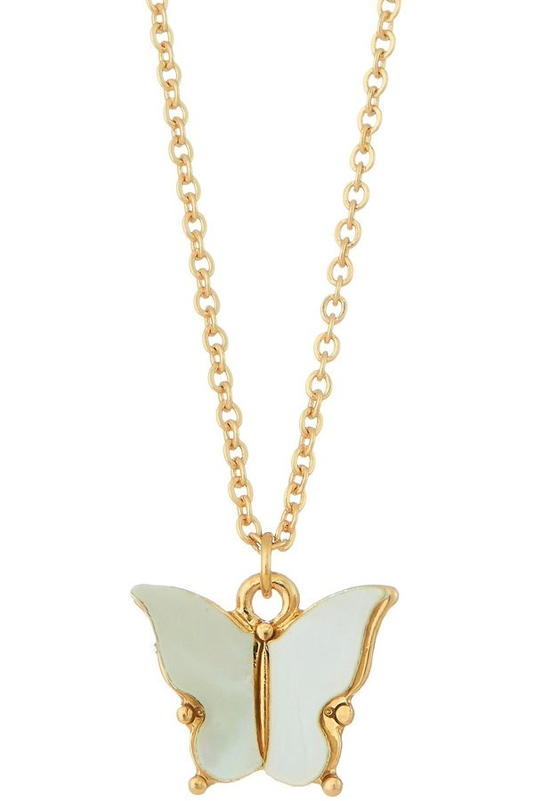 Gold Pearl Butterfly Pendant Necklace