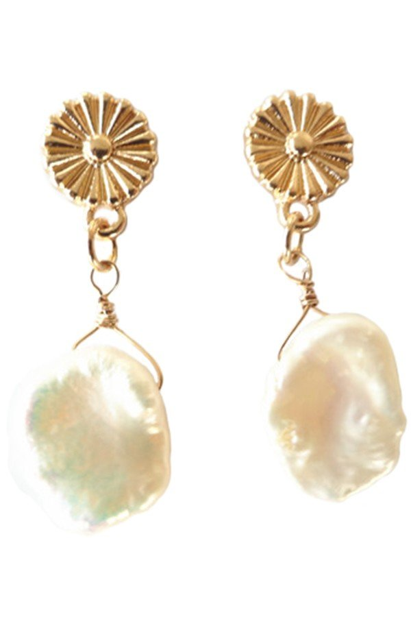 Mini Freshwater Pearl Daisy Drop Earrings - SISTER LB