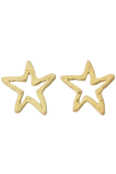 Gold Hammered Star Studs - SISTER LB