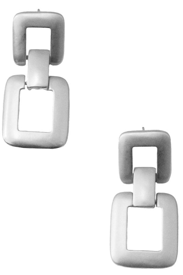 SIlver Matte Square Chain Earrings - SISTER LB