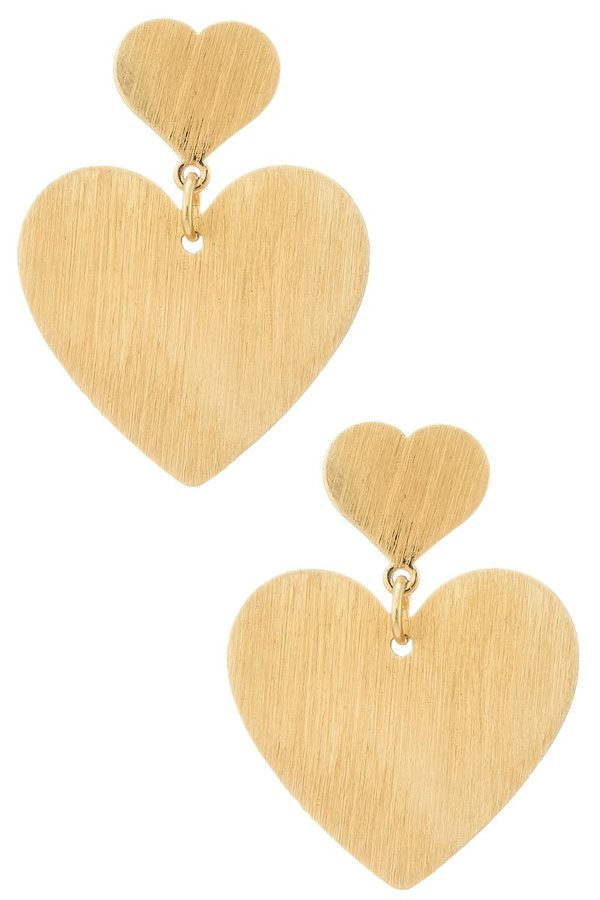 Brushed Double Heart Earrings - SISTER LB