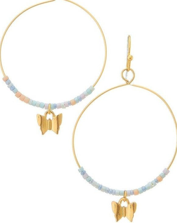 Butterfly Charm Hoops - SISTER LB