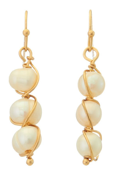 Wrapped Freshwater Pearl Earrings - SISTER LB