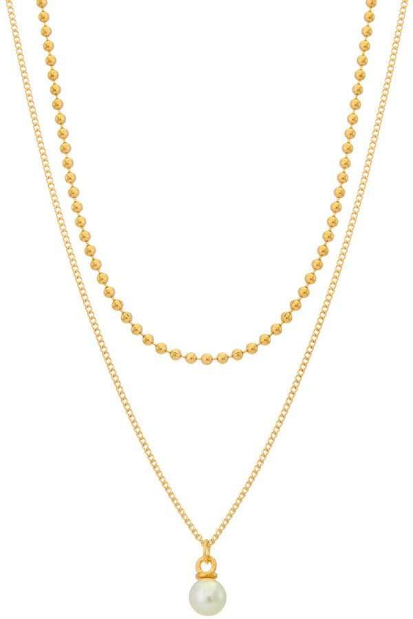 Ball Chain Pearl Necklace Set - SISTER LB