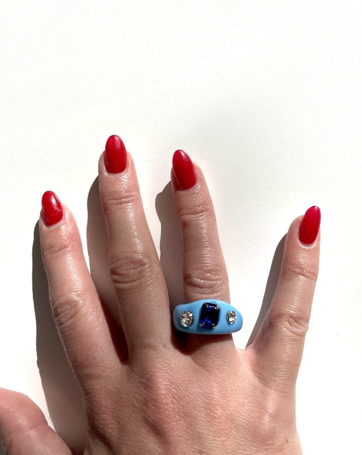 Blue Jewel Acrylic Ring