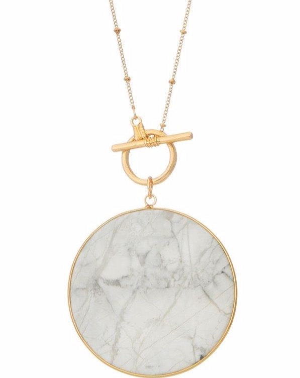 Marble Circle Pendant Necklace