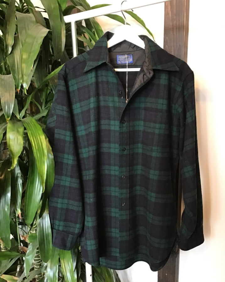 Navy and Forest Green Plaid Pendleton