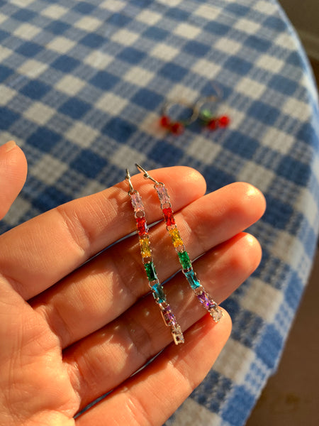 Rainbow stone drop earrings