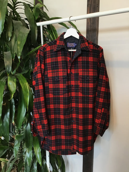 Red and Navy Tartan Long Pendleton