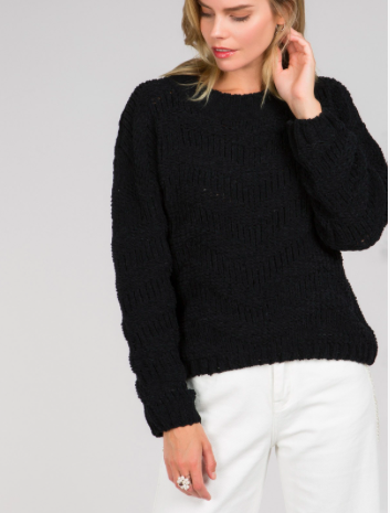 Black Cozy Chevron Knit Sweater - SISTER LB