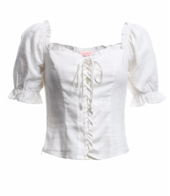 Ivory Lace Up Peasant Top