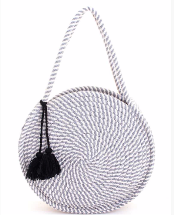 Gray Striped Circle Mel Bag