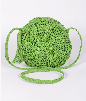 Lime Stacy Straw Crossbody
