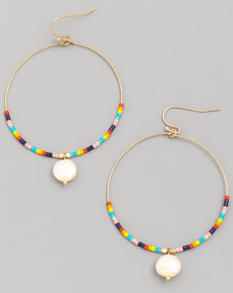 Circle Hoop Pearl Drop Earrings - SISTER LB