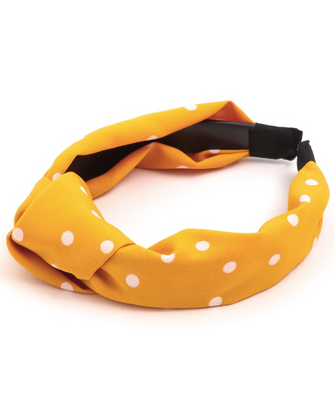 Yellow Polka Dot Knot Headband
