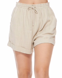 Linen Blend Cinch Shorts