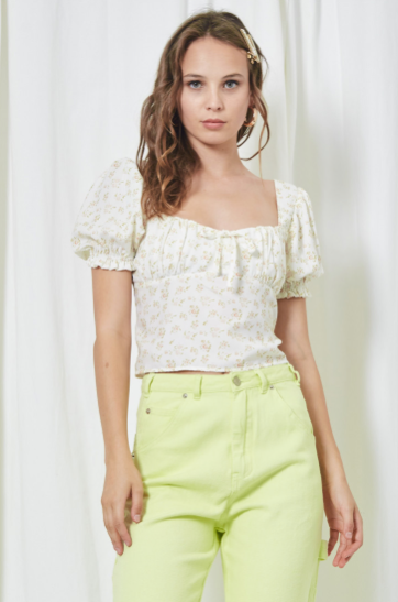 Ditzy Floral Puff Sleeve Top - SISTER LB