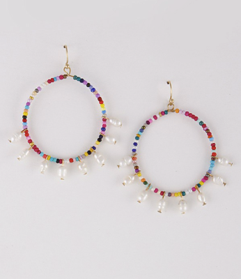 Multi Color Bead Pearl Hoop