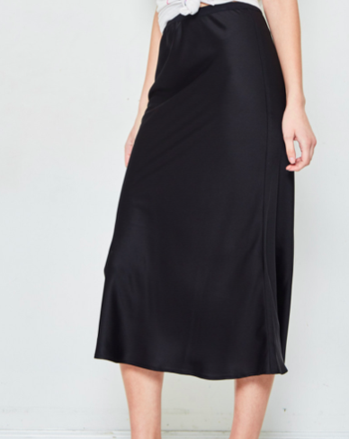Black Satin Midi Skirt - SISTER LB
