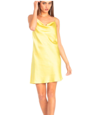 Yellow Satin Drape Front Mini Dress - SISTER LB