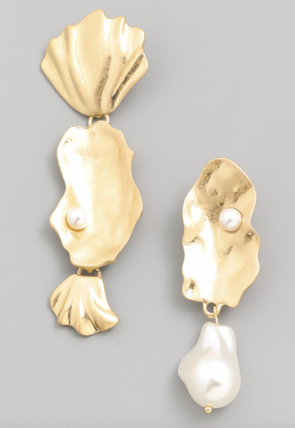Gold Splash Mixed Pearl Earrings