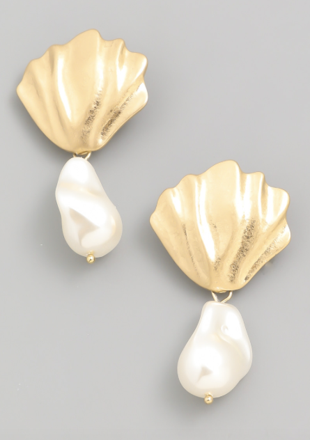 Gold Pearl Splash Earrings