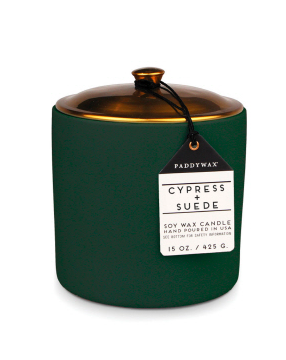 HYGGE 15 OZDARK GREEN CERAMIC CYPRESS + SUEDE - SISTER LB