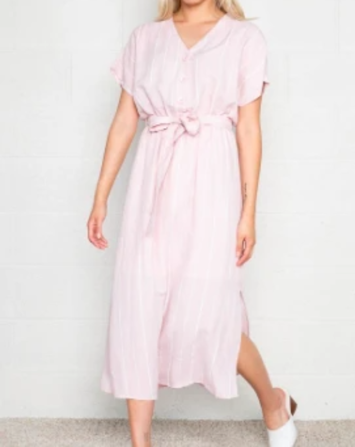 Pink Striped Button Front Dress - SISTER LB