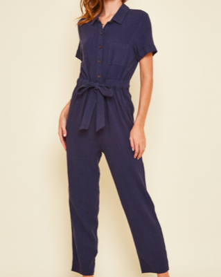 Navy Button Down Jumpsuit - SISTER LB