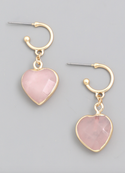Stone Heart Drop Earrings - SISTER LB