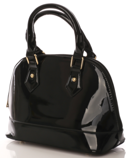 Black Patent Structured Bag