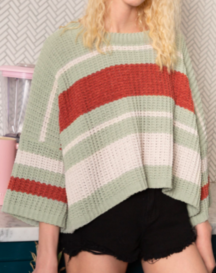 Pistachio Clay Striped Sweater - SISTER LB