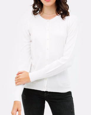 Ivory Pearl Button Cardigan - SISTER LB
