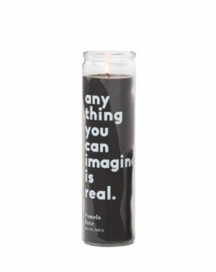 "SPARK 10.6 OZ BLACK ""ANYTHING YOU CAN IMAGINE"" PRAYER CANDLE / SETTING GOALS - POMELO ROSE - SISTER LB"