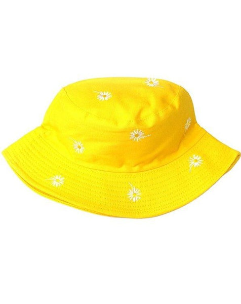Yellow Daisy Embroidered Bucket Hat