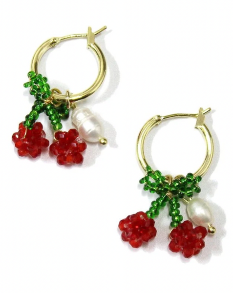 Beaded Cherry Pearl Earrings