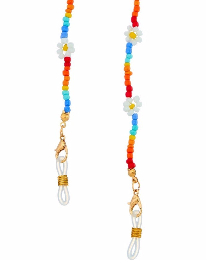 Rainbow Beaded Daisy Mask Chain