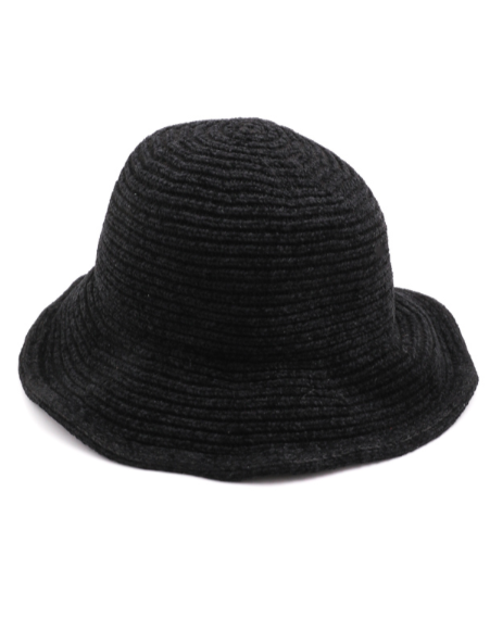 Black Chenille Bucket Hat