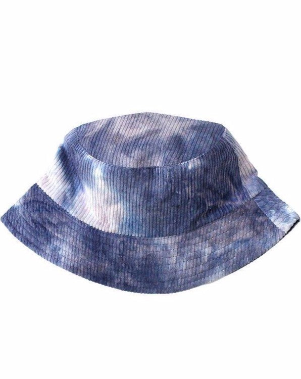 Blue Corduroy Tie Dye Bucket Hat