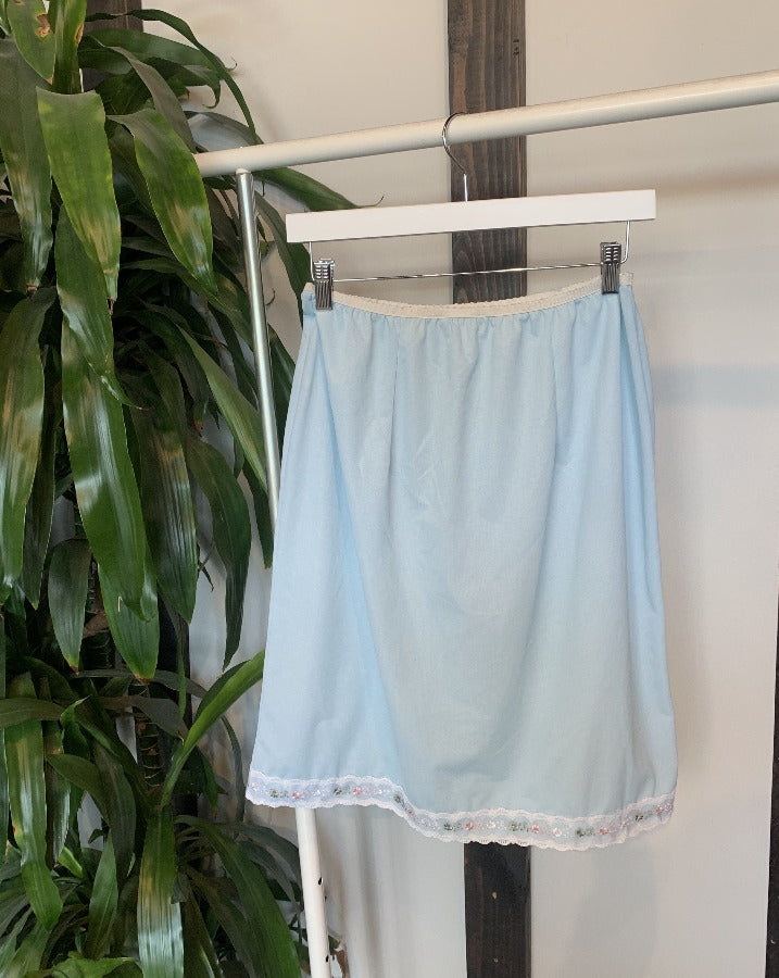Vintage Light Blue Lace Trim Slip